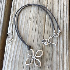 Fossil Silver Flower w/ Black Leather Rope Chain!